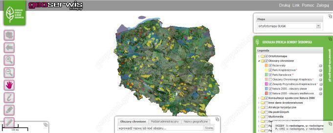 """""""Geoserwis"""", w którym na mapach można sprawdzić, jakie obszary przyrodnicze są w Polsce chronione."""