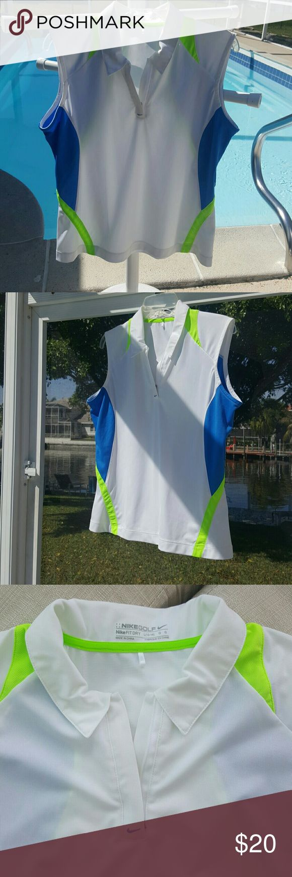 NIKE GOLF SHIRT L 12-14 Nike FIT DRY White Blue Nike Golf Shirt, size Large 12-14. Part of the NIKE FIT DRY COLLECTION. Great condition. I'm throwing in a great matching gold skirt by Tail Tec Golf, sz 10. If you do not want the skirt please let me know before I ship in the comments...please note the skirt has a thread coming loose on hem which will eventually unravel if not stitched or fixed..THEREFORE this listing is ONLY for the Nike Golf Shirt. The skirt is a throw in, toss it or recycle…