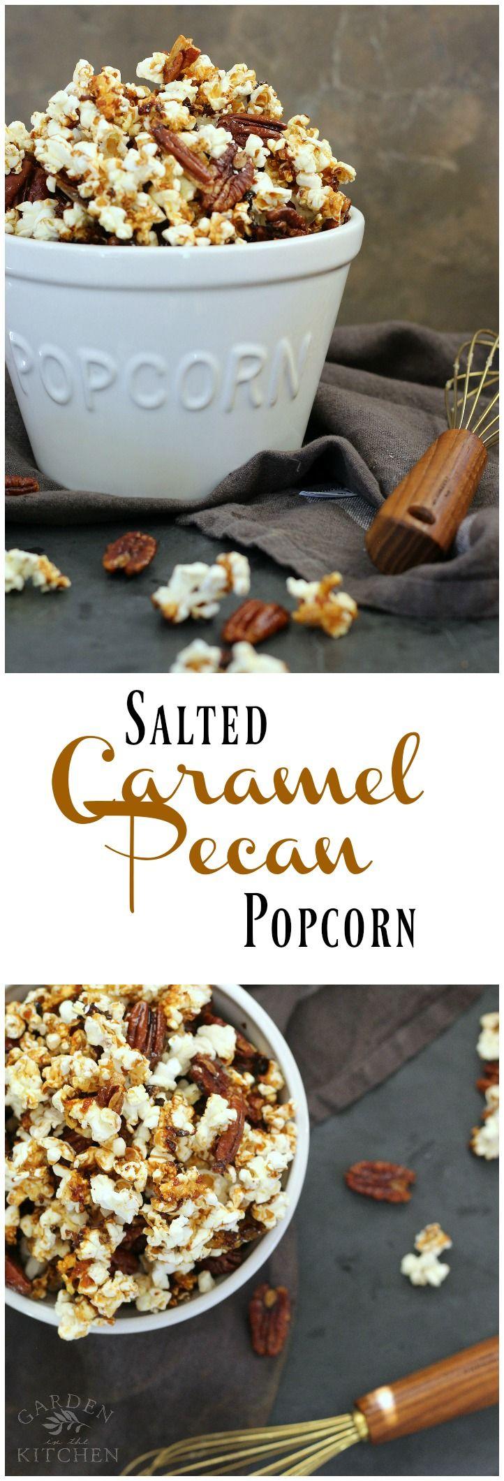 Salted Caramel Pecan Popcorn | gardeninthekitchen.com #popcorn #caramel #fallrecipes #caramelpopcorn