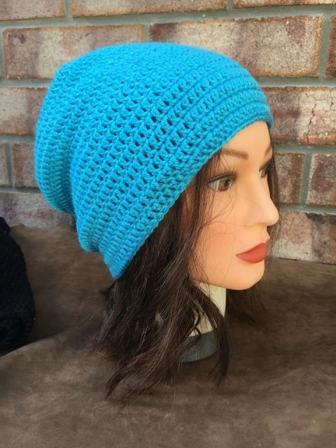 Light Blue Crocheted Beanie