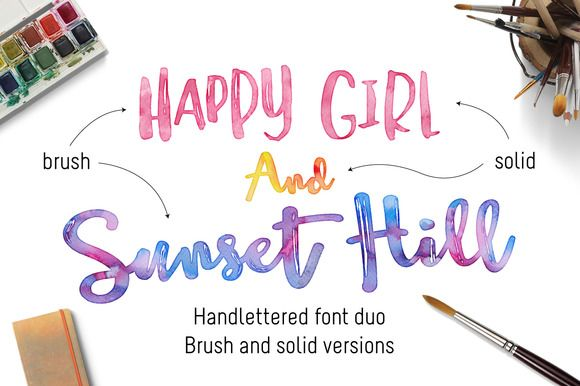 Sunset Hill Brush Font Bundle by Joanne Marie on Creative Market