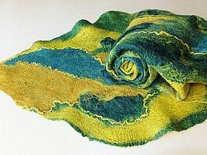 Валяние шарфа палантина на плоском шаблоне | Ярмарка Мастеров - ручная работа, handmade