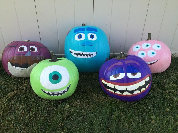 Monsters University hand painted pumpkins. Don, Sully, Squishy, Mike and Art.