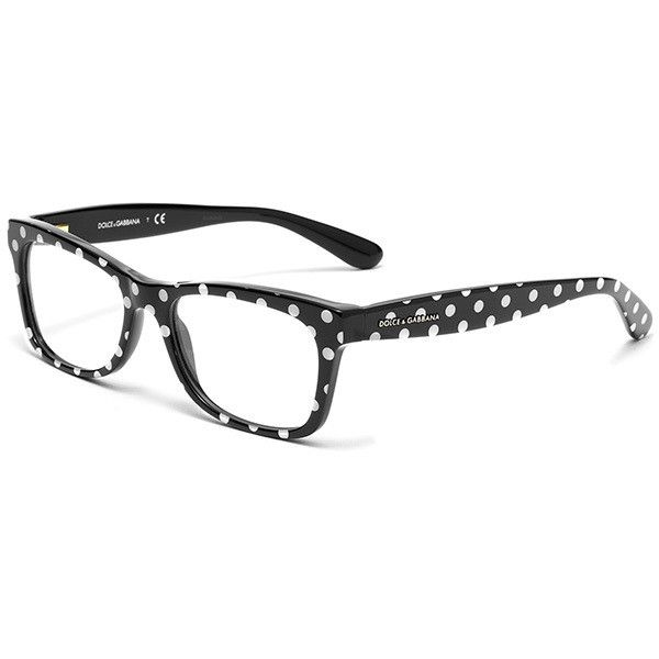 Women's black and white polka dots acetate glasses with squared frame... found on Polyvore