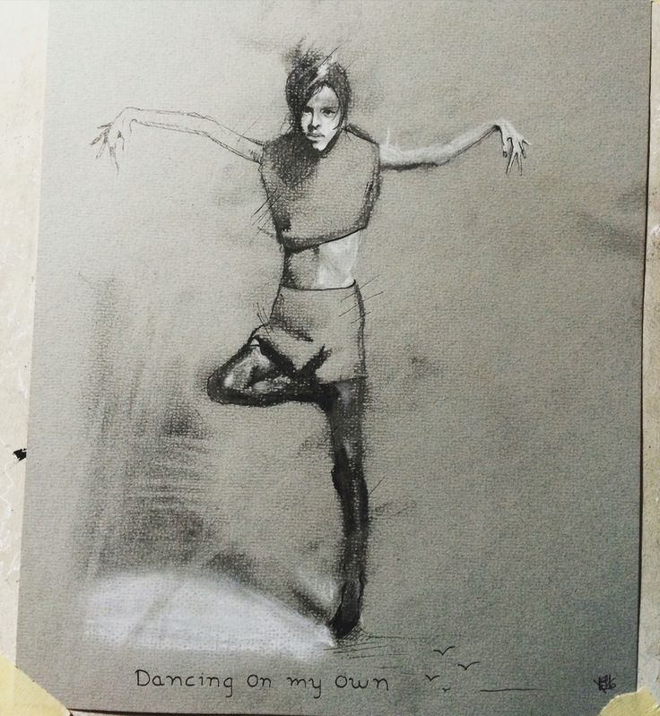 """Dancing on my own""  Charcoal sketch by Lundhof"