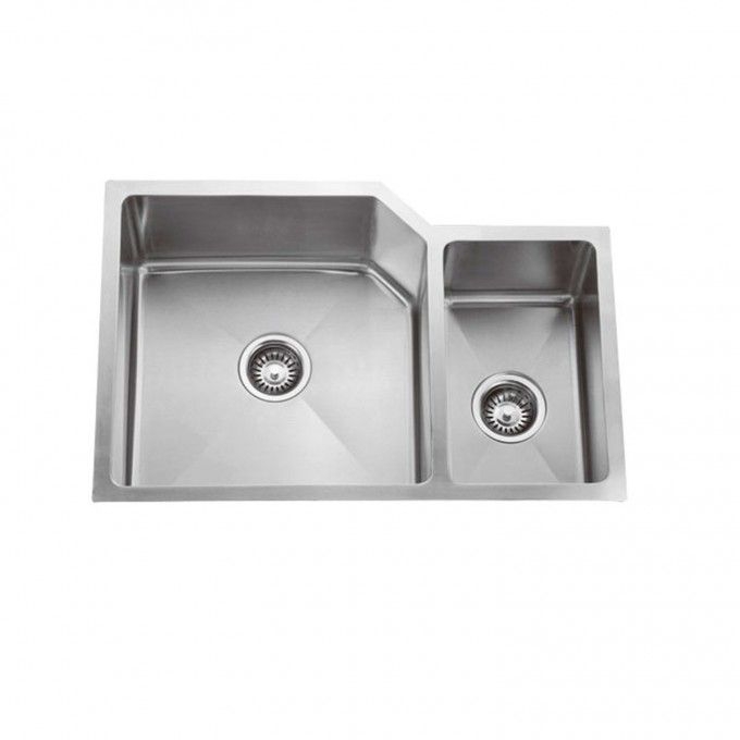"33"" Optimum Stainless Steel Large 70/30 Double-Well Offset Undermount Sink - Kitchen Sinks - Kitchen"