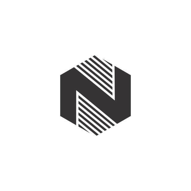 N Hexagon Black Logo Vector Abc Abstract Alphabet Png And