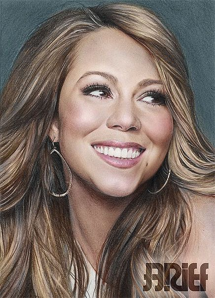 Mariah Carey 3 by riefra on deviantART ~ pencil portrait colored in photoshop ~ artist Arief Kurniawan
