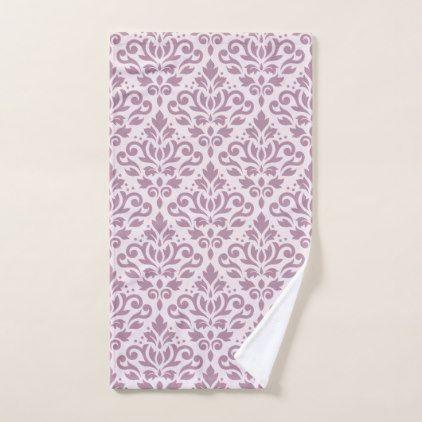 Scroll Damask Big Ptn Mauve on Pink Hand Towel - patterns pattern special unique design gift idea diy