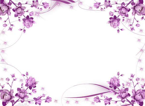 pink border png | Violet Transparent PNG Photo Frame with Flowers