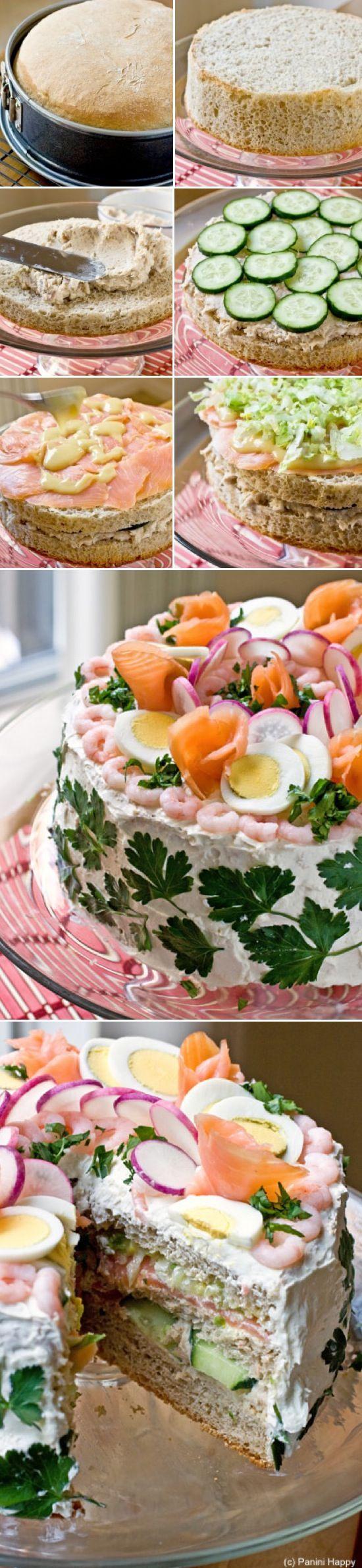 Torta salata: salmone, gamberetti, cetrioli, uova sode. Come basi si può usare anche il pane in cassetta o quello bianco da tramezzini   The Best Salmon Cucumber Egg Sandwich Cake