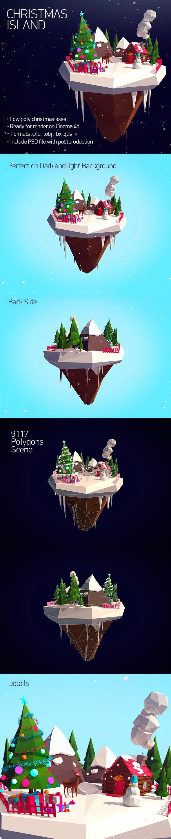 Low Poly Christmas Island 3D Models Design Template #c4d #cinema4d #3D #3dDesign Download here: https://3docean.net/item/christmas-island/13911074?ref=yinkira