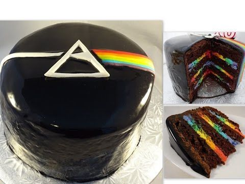 """We play with a mirror glaze to create an out-of-the-world galaxy cake finished off with chocolate """"space rocks"""" and edible luster dust. Get the recipe: http:..."""