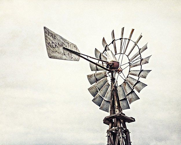 Rustic Farmhouse Decor - 'Aermotor Windmill' - Country Home Decor Print in Neutral Grey Beige Brown.   30