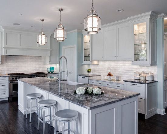 White kitchen traditional light grey kitchen island with - Light blue and white kitchen ...