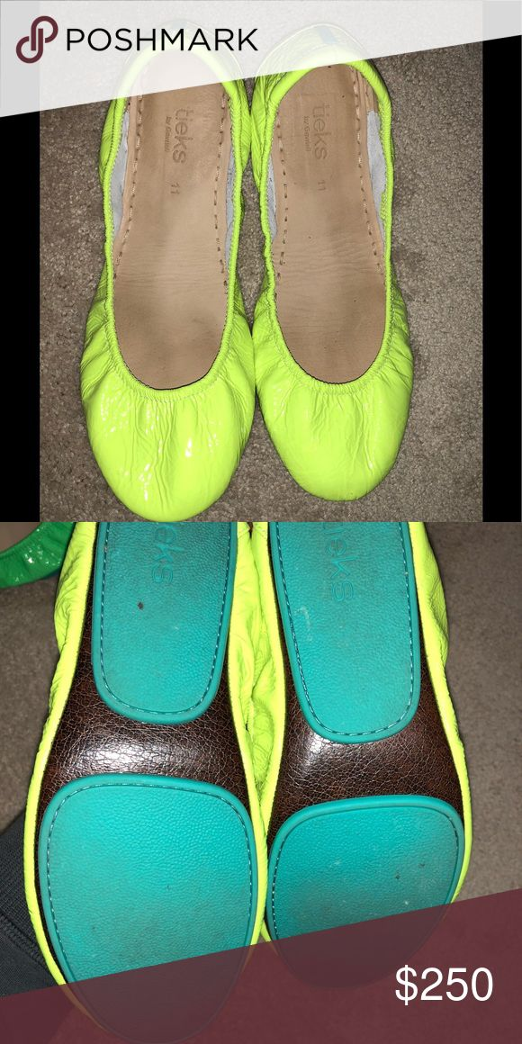 TIEKS UNMELLOW YELLOW LEATHER NEON FLATS 11 UNMELLOW yellow neon tieks. Worn a few times, in excellent condition. No flaws price firm no trades. Comes with box, flower and pouch. Guaranteed authentic and no flaws. Tieks Shoes Flats & Loafers