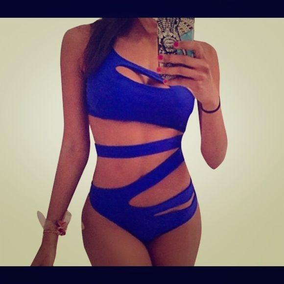 Monokini. One piece blue one piece swimsuit. cut out brazilian bandage monokini swimsuits sexy high waist Swim One Pieces