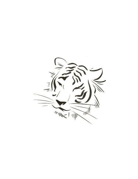 Tiger Face Outline With Less Detail Tattoo | Tony's Tattoo Gallery