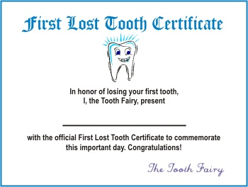 First Lost Tooth Certificate Tooth Fairy Pinterest
