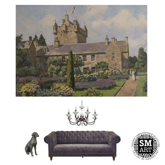 """Работа Владимира Лаповка """"Ковдорский замок"""" продолжает серию работ художника с пейзажами Великобритании. Ковдорский замок (Cawdor Castle) находится в Шотландии. Период его строительства и расцвета приходится на 14-17 века.  Работа прекрасно впишется в классический английский интерьер…"""
