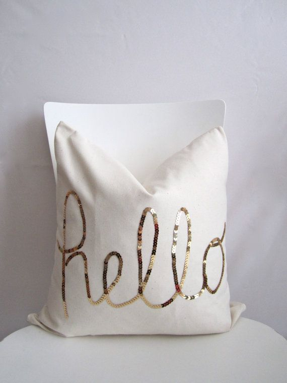 18 inch throw pillow cover hello sequins in shiny gold natural cotton white color - White Decorative Pillows
