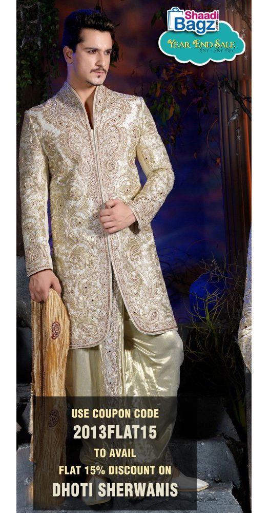 Flat 15% off on Dhoti Sherwani for men. Use Coupon Code 2013Flat15 at the checkout to avail this Offer. Visit http://www.shaadibagz.com/men/dhoti-sherwanis.html to order now!!!   #dhoi #sherwani #sale #discount #offer #wedding #online  #code #winter #men #India