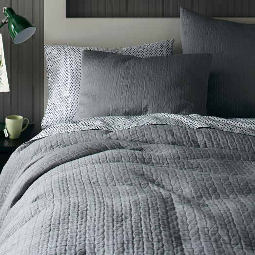 Organic Braided Matelasse Duvet Cover + Shams - Feather Gray | west elm  Full/Queen duvet cover - $111.