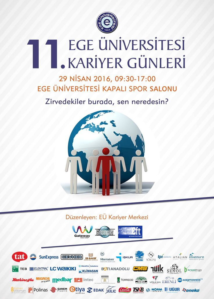 Ege Üniversitesi 11. Kariyer Günü 29 Nisan 2016 Cuma günü 50'ye yakın firmanın katılımı ile EÜ Kapalı Spor Salonu'nda gerçekleştirilecektir. Firma yetkililerinin stantlarda hazır bulunacağı Kariyer Günü'nde iş ve staj mülakatları da yapılacaktır.