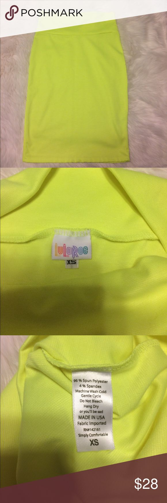 "Neon Yellow Pencil Skirt SZ Extra Small EUC 13"" across, 23"" length pencil skirt by Lularoe. Neon yellow, excellent condition! LuLaRoe Skirts Pencil"