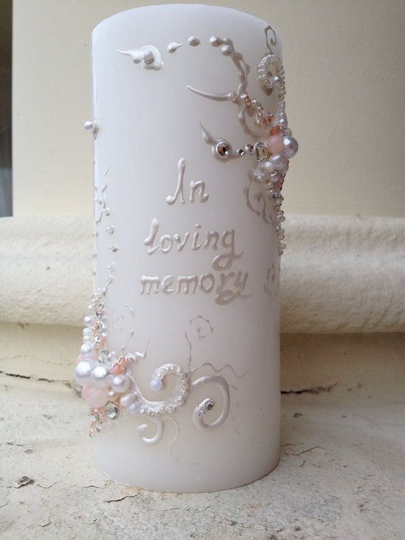 Wedding memorial candle in white and blush pink with crystals, custom personalized memory candle, wedding reception