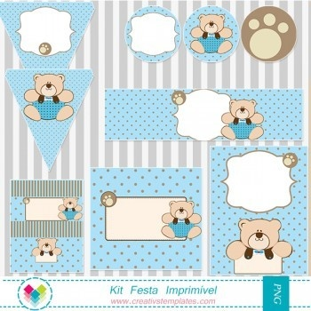 Kit festa imprimir - Ursinho Azul e marrom mod:46 Printable Party Teddy Bear Polka Dot