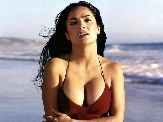Salma Hayek Is A Little Cold is listed (or ranked) 2 on the list The Hottest Salma Hayek Bikini Pictures