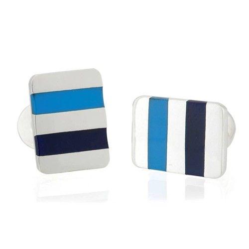 Gemelo rectangular de plata y rayas azules. Striped cuff links   #jewelry #jewellery #joyas