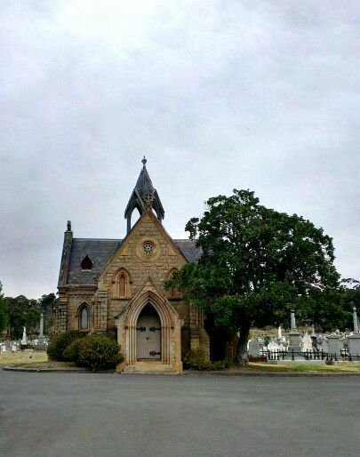 April 1: I've taken pictures of this old, disused church, inside and out, before. It's locked up, and inside hardly looks church-like anymore, or it didn't then. I don't know if it has a name, but it is the old church of the Bendigo cemetery.