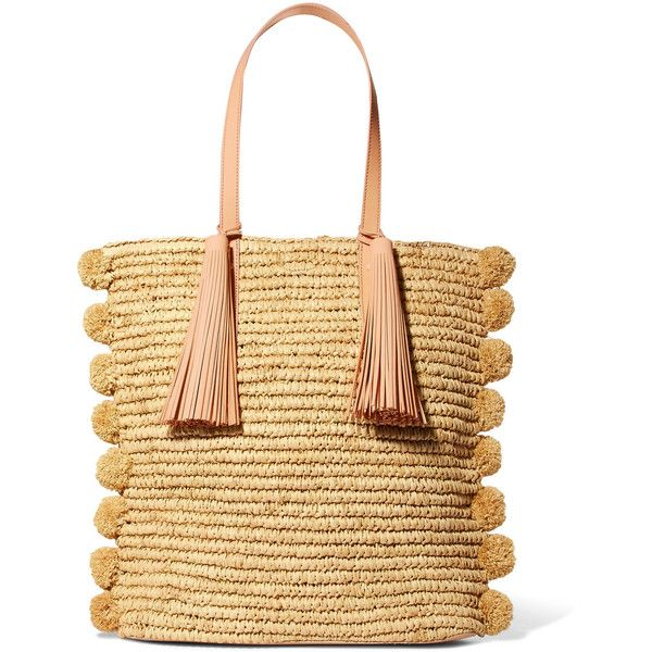 Loeffler Randall Cruise pompom-embellished leather-trimmed straw tote ($550) ❤ liked on Polyvore featuring bags, handbags, tote bags, tote purses, pom pom straw tote, woven tote bags, straw tote beach bag and pom pom tote