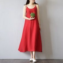 Сарафаны для женщин шелк хлопок свободно плюс размер 2017 лето dress спагетти ремень платья большой размер одежды 2016020(China (Mainland))