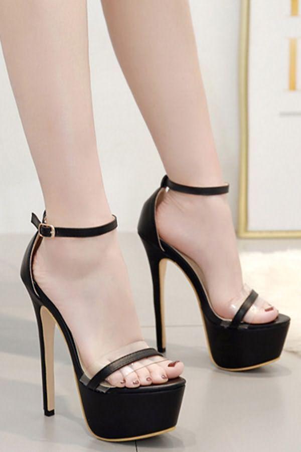 black clear platform heels
