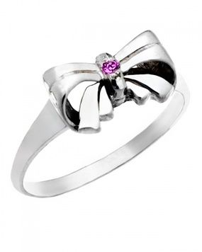 Signet Ring - BIRTHSTONE BOW - Sterling Silver or 9ct Gold