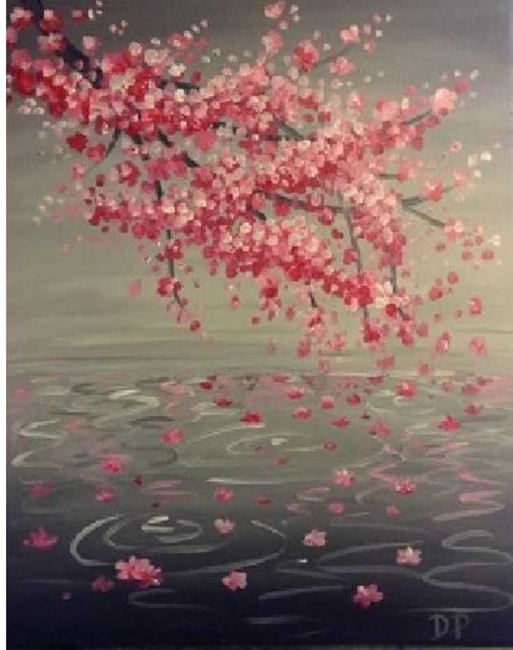 83 best paintings taught at pnnash images on pinterest for Canvas painting of cherry blossoms