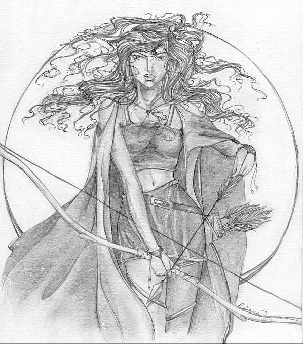 artemis sketch, at one stage of my life I could actually pull a longbow.