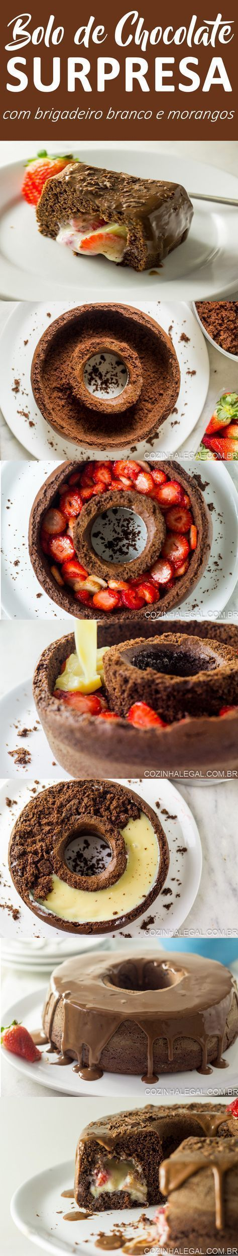 Receita de bolo de chocolate surpresa com brigadeiro branco e morango vai te surpreender por ser muito fácil de fazer. Além de ser lindo e muito gostoso. | cozinhalegal.com.br