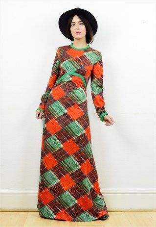 70S BOHO SQUARED PRINT LONG SLEEVED MAXI DRESS