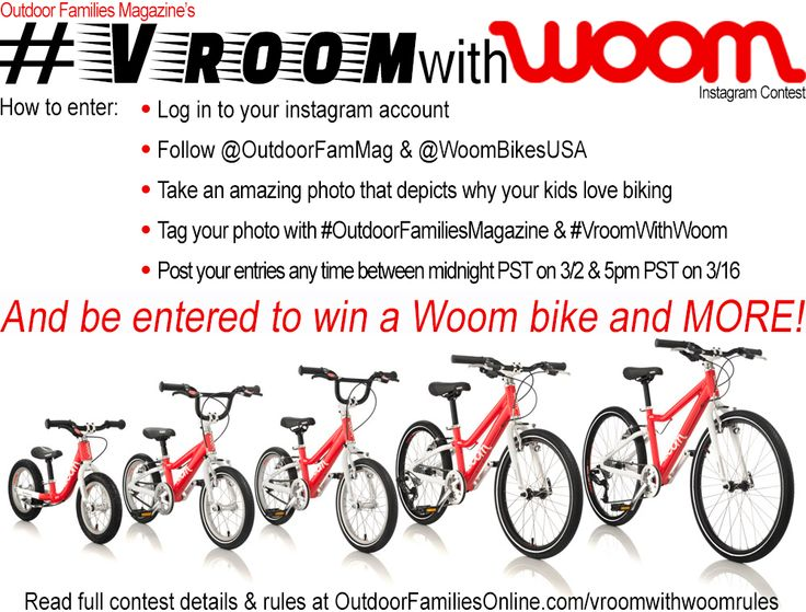 Enter Outdoor Families Magazine #VroomWithWoom Instagram Photo Contest for a chance to win a Woom Bike and more!