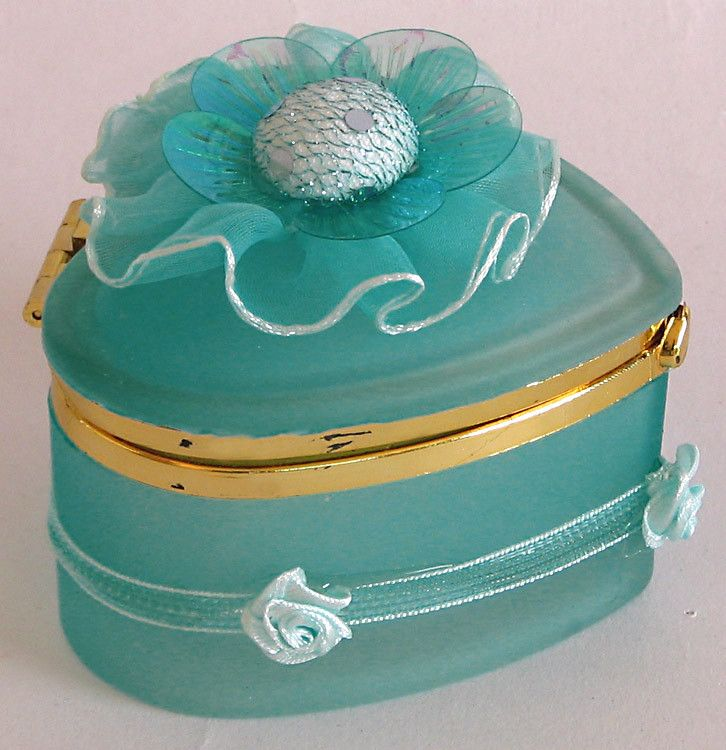 Cyan Heart Shaped Jewelry Box Decorated with Ribbon on Top (Glass)
