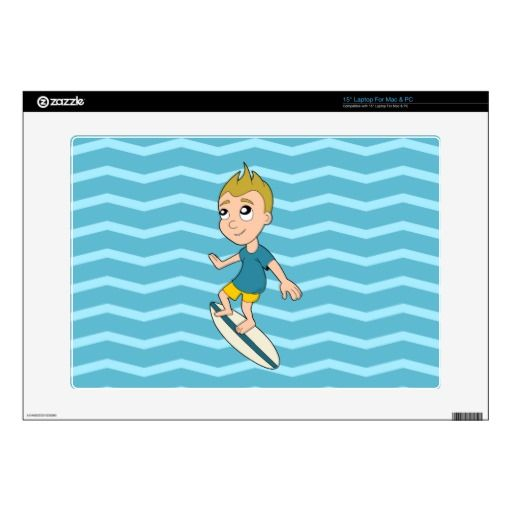 Surfing boy cartoon laptop skin