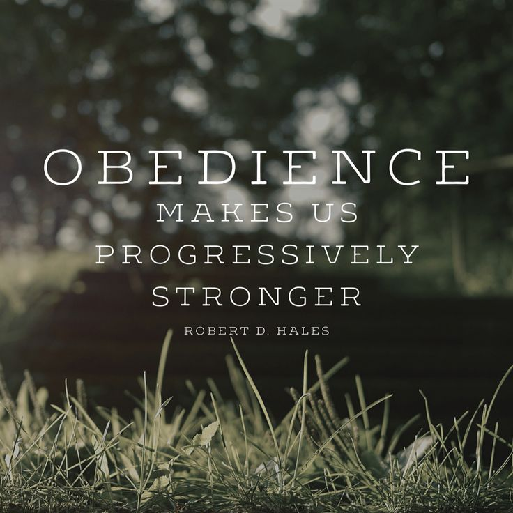 """""""Obedience makes us progressively stronger.""""  """"If Ye Love Me, Keep My Commandments,"""" by Robert D. Hales, General Conference, Apr. 2014"""