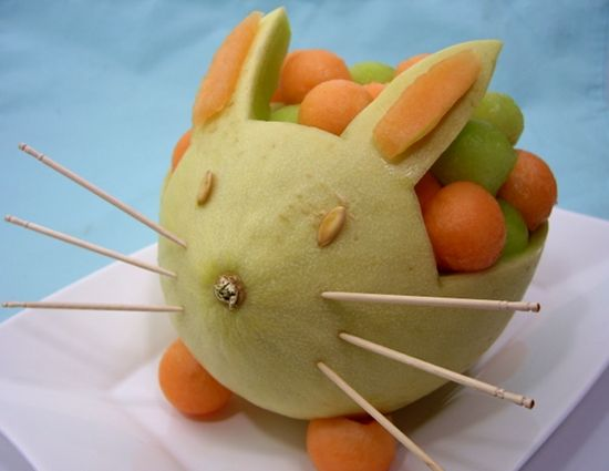 Followed this Melon Bunny How-To to make fruit bowls for my husband and mother Easter 2013