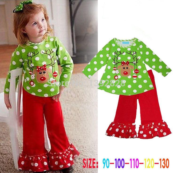 Детская Одежда Устанавливает 2016 осень Детей 2 шт. Наборы Рубашка Костюм Рождественские одежды младенца девочек Одежда устанавливает зеленая рубашка + красные штаны
