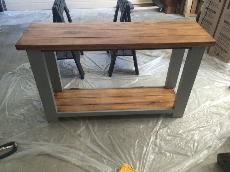 Side Table Stained And Painted