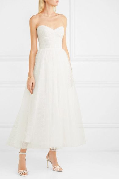 7f1064bd217db Monique Lhuillier - Brie strapless ruched Swiss-dot tulle gown in ...